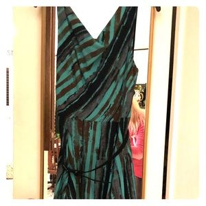 Eva Franco Dress Sz8 pretty turquoise/brown/black